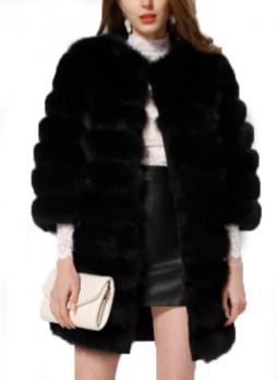 Fox Fur Jacket Black Coat Women's Size S M
