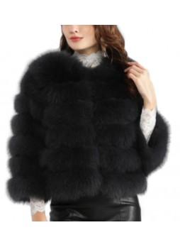 Fox Fur Jacket Coat Bolero Black Women's