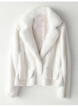 Mink Fur Coat Jacket Bolero White Women's Sz S M