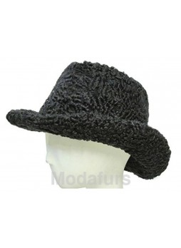 """Men's Persian Lamb Fur Black Cowboy Hat Size 24"""" Man"""