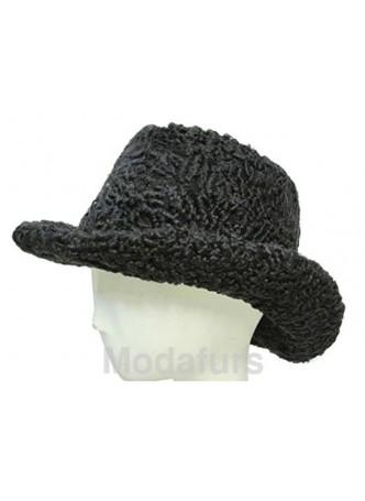 """Persian Lamb Fur Black Cowboy Hat Size 24"""" Man Men's"""