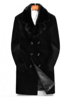 Men's Bon Mouton Lamb Fur Coat Jacket Mink Fur Collar Black XL