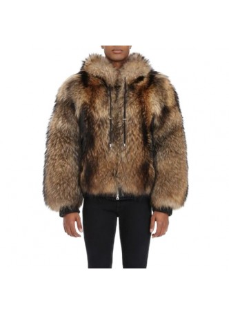 Raccoon Finn Fur Coat Bomber Jacket Coat with Hood MAN Sz  XXL Men's