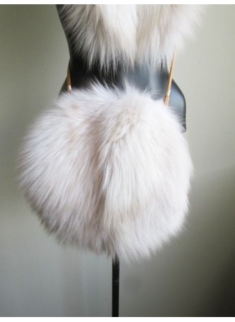 Fox Fur Shadow Bag Purse Cross Body Shoulder Bag Hand Muff Warmer Women's