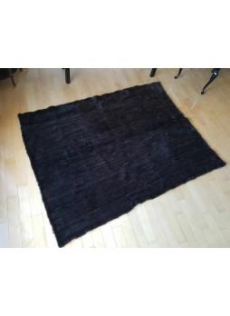 "Knitted Mink 100% Fur Black Dark Ranch Throw Blanket Bedspread Rug 60"" x 80"" Home Decor"