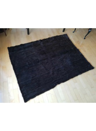 "Knitted Mink 100% Fur Black Dark Ranch Throw Blanket Bedspread Rug 60"" x 80"" Home Decor"
