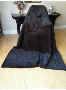 "Knitted Mink 100% Fur Natural Dark Ranch Throw Blanket Bedspread Rug  100"" x 80""  Home Decor"