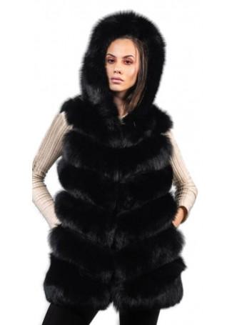 Fox Fur Vest Black with HOOD Women's