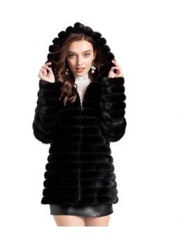 Mink Fur Coat Jacket Black Trims Women's Female Mink HOOD