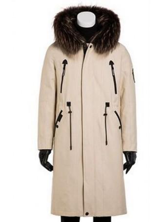 Raincoat Beige Rex Rabbit Fur Lining Hood Raccoon Fur Trim Sz XL Men's