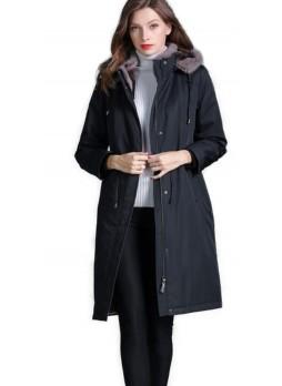 Raincoat Coat with Detachable Rex Rabbit Fur Lining Hood and Fox Fur Trimmed Hood Women's (Black Burgundy or Blue)