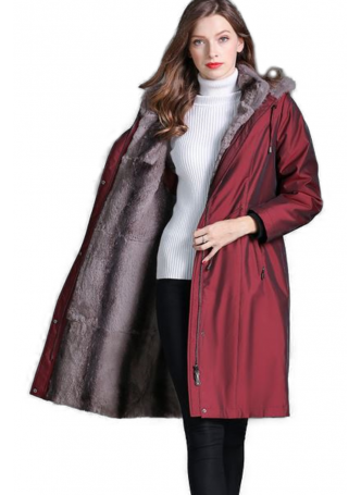 Raincoat Coat with Detachable Rex Rabbit Fur Lining Hood and Fox Fur Trimmed Hood Women's (Black Burgundy or Blue)