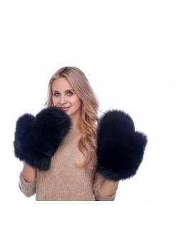 Fox Fur Black Mittens Gloves Men Women Unisex