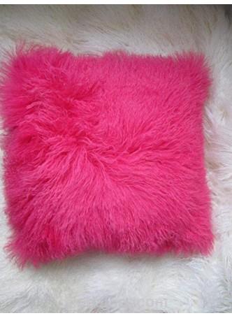 "Mongolian Tibetan Lamb Fur Pillow 18"" X 18"" with Cashmere/Wool Lining!  Hot Pink"