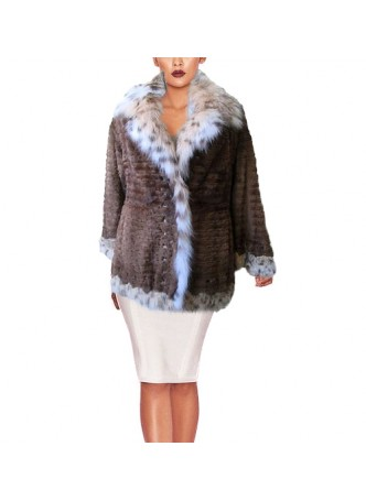Mink Fur Coat Jacket with LYNX Fur Women's