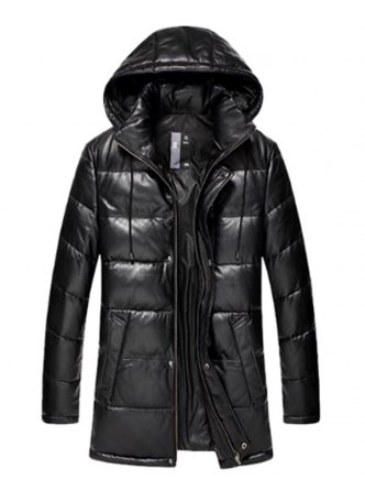 Men's New Sz XXL Black Leather Jacket Coat With Detachable Hood