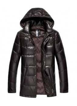 Men's New Sz XXL Brown Leather Jacket Coat With Detachable Hood
