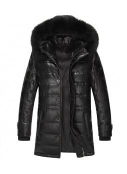 Men's New Sz XXL Black Leather Jacket Coat With Detachable Hood Fox Fur