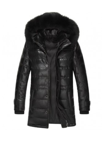 Men's New Sz XXL Black Leather Jacket Coat With Detachable Hood Fox Fur