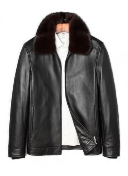 Men's New Sz XL Black Leather Jacket Coat With Mink Fur Collar