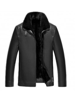 Men's New Sz XL Black Lamb Leather Jacket Coat With Mink Fur Lining