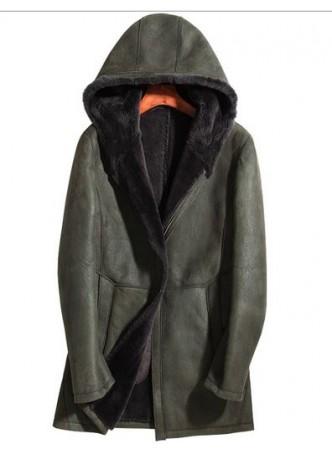 Men's New Sz L Military Green Shearling Lamb Sheepskin Jacket Coat Hood