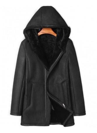 Men's New Sz L Black Shearling Lamb Sheepskin Jacket Coat Hood