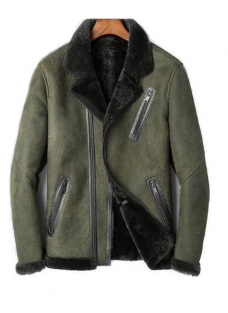Men's New Sz L Green Shearling Lamb Leather Jacket Coat Sheepskin Fur Lining