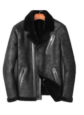 Shearling Lamb Fur Leather Jacket Coat Sheepskin Fur Lining  Men's Sz L Black