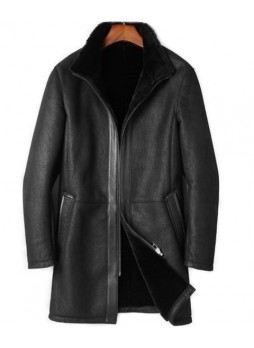 Men's New Sz L Black Shearling Lamb Sheepskin Jacket Coat