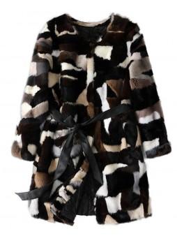 Mink Fur Coat Jacket Natural Black White Women's Sz S M