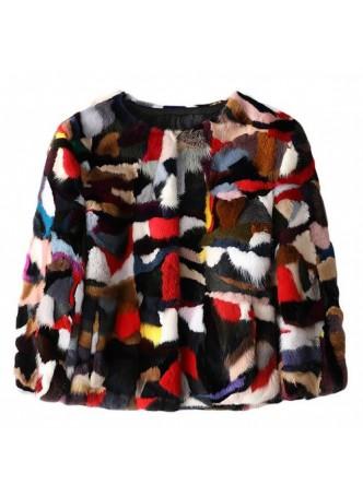Mink Fur Coat Jacket Bolero Natural Multicolor Women's Sz S M