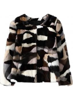 Mink Fur Coat Jacket Bolero Natural  Sapphire Blue Black White Women's Sz S M Multicolor