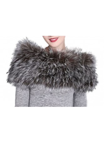 Knitted Fox Fur Silver Wrap Tube  Eternity Scarf Collar Stole Stretchable Women's