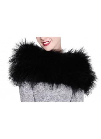Knitted Fox Fur Black Wrap Tube  Eternity Scarf Collar Shawl Stole Stretchable Women's