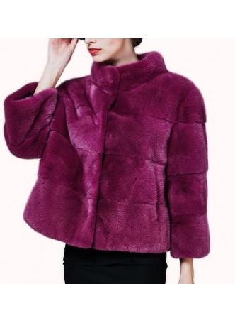 Mink Fur Jacket Coat Bolero Women's Pink Rose