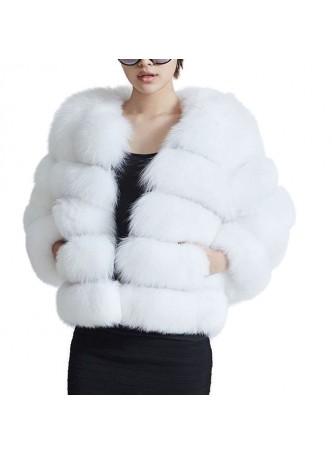 Fox Fur White Jacket Coat Bolero Women's
