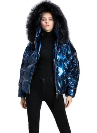 Metallic Blue Puffer Jacket Coat with Hood and Black Fox Fur Women's