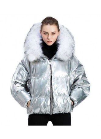 Metallic Silver Puffer Jacket Coat with Hood and Fox Fur Women's