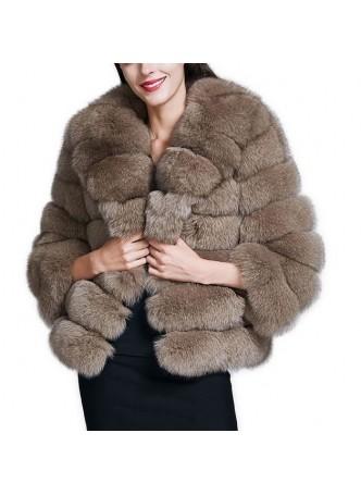 Fox Fur  Beige Jacket Coat Bolero Women's