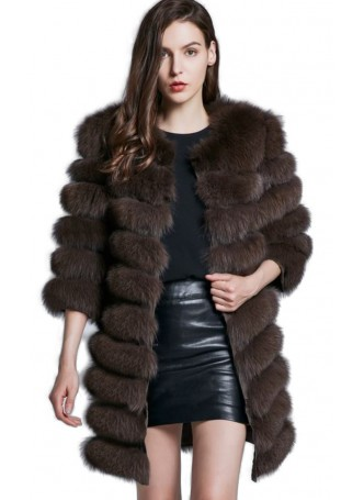 Fox Fur Jacket Coat Vest Women's Brown