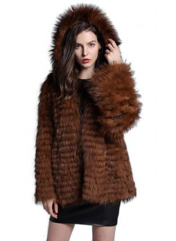 Knitted Brown Fox Fur Jacket Coat with Hood Women's