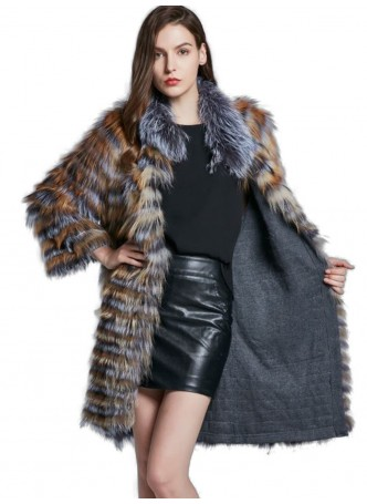 Knitted Silver Fox & Red Fox Fur Coat Jacket Women's