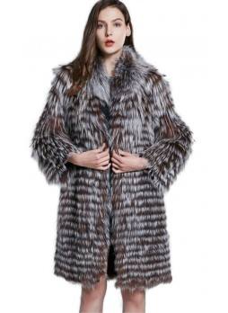 Knitted Silver & Brown Fox Fur Coat Jacket Women's