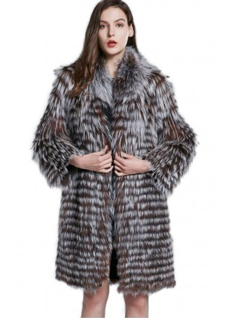Knitted Silver & Brown Fox Fur Coat Jacket Women's