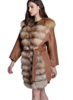 Cashmere Jacket Coat with Red Fox Fur Women's