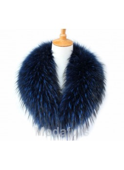 Raccoon Finn Fur Collar Navy Blue