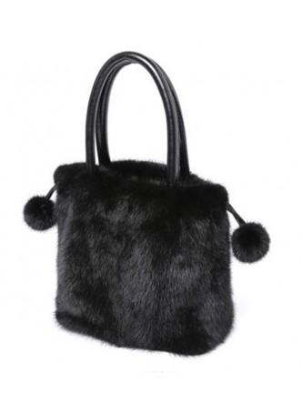 Mink Fur Bag Purse Hand Muff Warmer Dark Ranch Black Women's