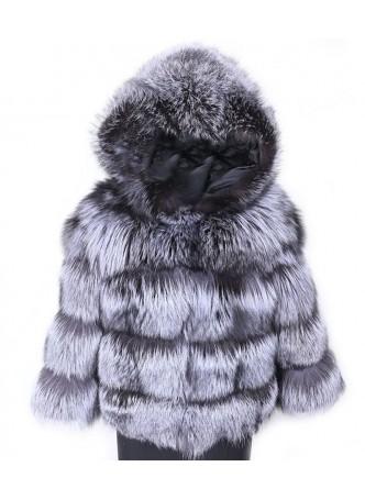 Silver Fox Fur Jacket / Coat / Bolerowith HOOD Women's