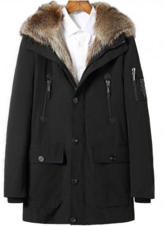 Winter Jacket Coat Parka Detachable Raccoon Fur Lining HOOD Raccoon Fur Men's Black or Military Green